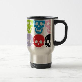 multi coloured skulls travel mug