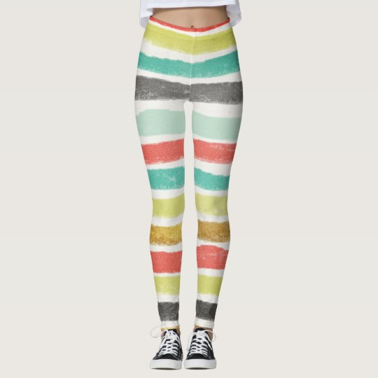 Multi-coloured stripes in muted jewel tones leggings