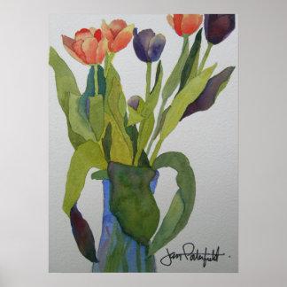 Multi-coloured Tulips Print