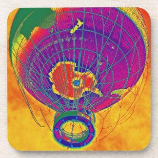 Multi-coloured World Globe Balloon, Orange Sky Beverage Coasters