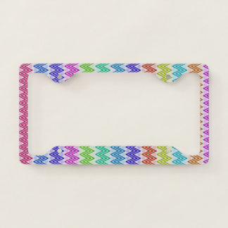 Multi Coloured Zig Zags License Plate Frame