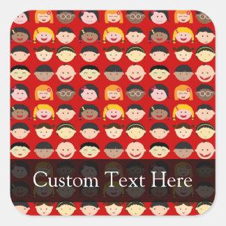 Multi-Cultural Children Square Sticker
