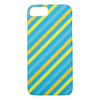 Multi Diagonal Stripe Blue Design iPhone 7 Case