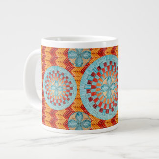 Multi Flower Orange Chevron Mug Design