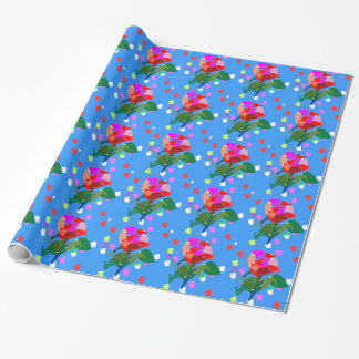 Multi  FLOWERS DOTS :Happy Holiday Gift Packing Wrapping Paper