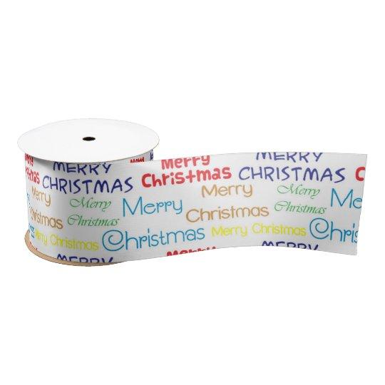 Multi-Font and Colour Merry Christmas Satin Ribbon