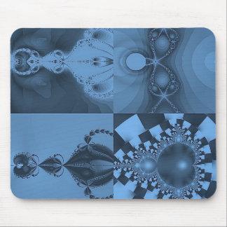 Multi Fractal Blue Collage Mouse Pad