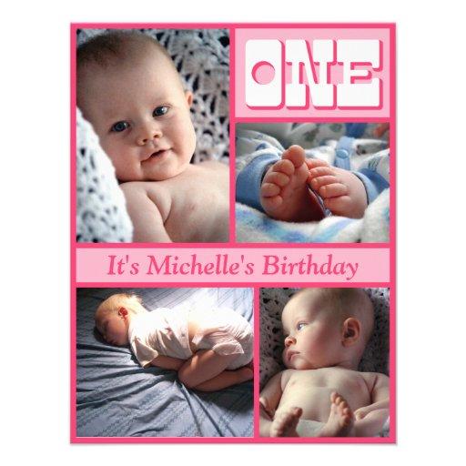 Multi Frame Pink One Birthday Invitation