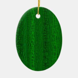 Multi Green Colour Background Ceramic Oval Ornament