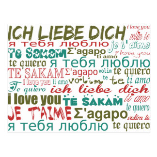 Multi-Language Love, Hearts - Blue Green Red Postcard