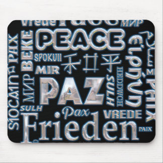 Multi language mouse mat black and chrome