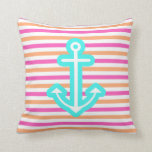 Multi Nautical Aqua Anchor Throw Pillow
