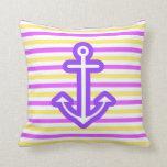 Multi Nautical Purple Anchor Pillows