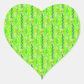 Multi Party Streamers on Neon Green Heart Sticker