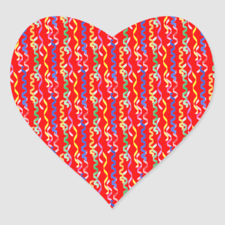 Multi Party Streamers on Neon Red Heart Sticker