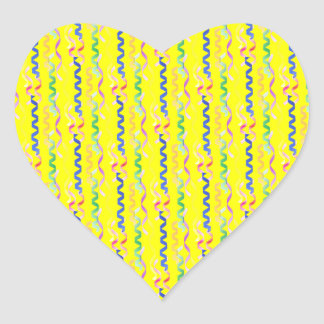 Multi Party Streamers on Neon Yellow Heart Sticker
