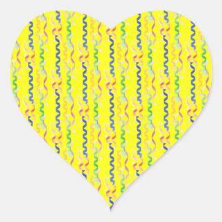 Multi Party Streamers on Neon Yellow Heart Sticker