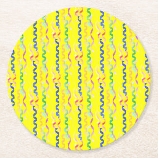 Multi Party Streamers on Neon Yellow Round Paper Coaster