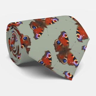 multi Peacock butterfly pattern on grey Tie
