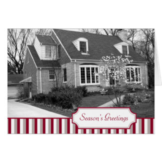 Multi photo red stripe Christmas holiday folded Greeting Card