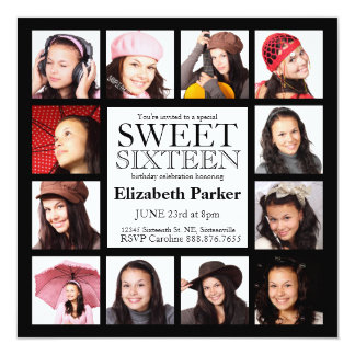 Multi Photo Sweet Sixteen Party Card