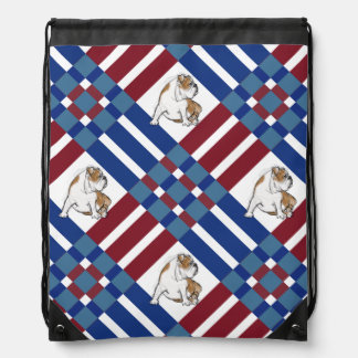 Multi Plaid Bulldog Drawstring Bag