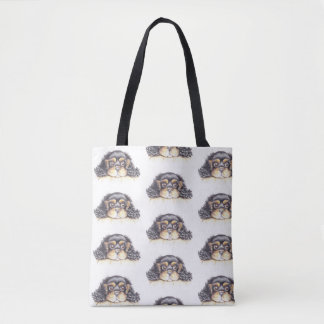 Multi Print Tote Bag with Puppy Max the Cavalier