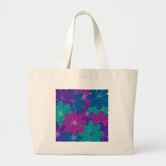 Multi Purple Blue Green Floral Large Tote Bag