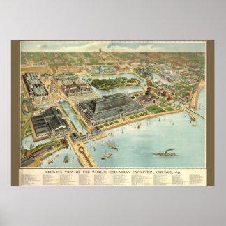 Multi-Size/Birds Eye View Chicago Worlds Fair 1893 Poster