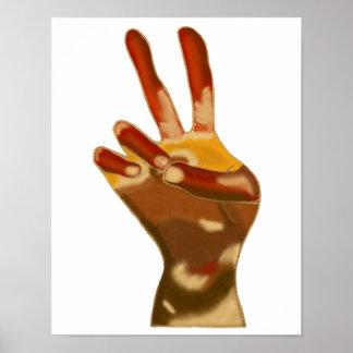 Multi Skin Flesh Tones Peace Sign Hand Posters