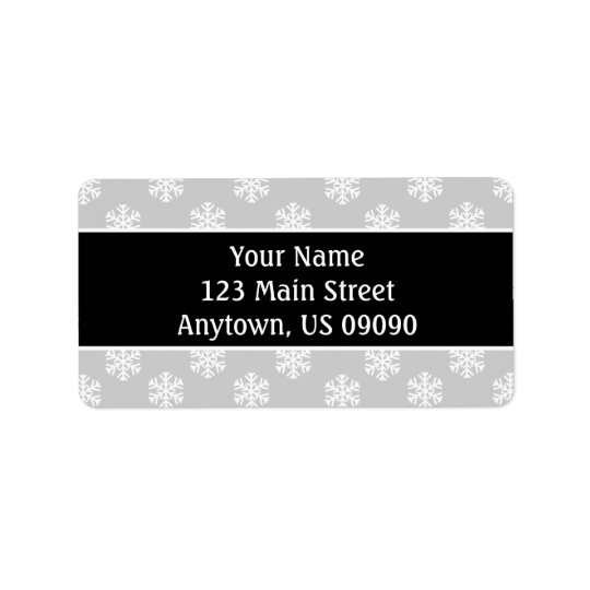 Multi Snowflakes Address Labels (Black / Silver)