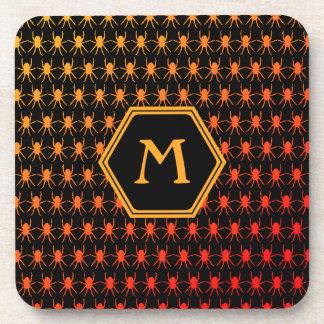Multi spiders fiery on black Monogram Coaster