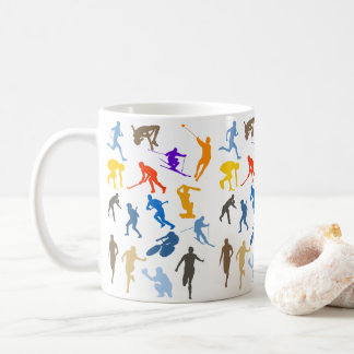 Multi-Sport Themed Silhouette Design Coffee Mug