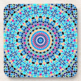Multi Spots No. 1 Blue Kaleidoscope Beverage Coasters