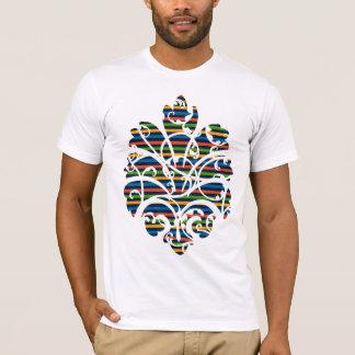 multi stripe scrolls medallion cutout T-Shirt