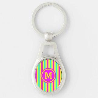 Multi Stripe Yellow Monogram Silver-Colored Oval Keychain