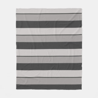 Multi-Striped Charcoal Gray and Taupe Fleece Blanket