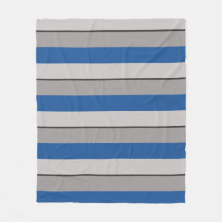 Multi-Striped China Blue and Taupe Fleece Blanket
