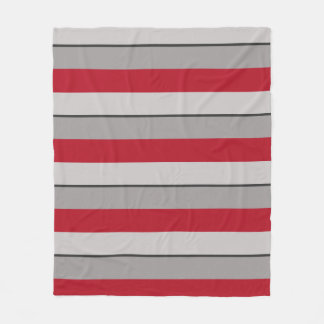 Multi-Striped Crimson Red and Taupe Fleece Blanket