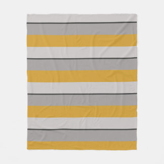 Multi-Striped Hot Mustard and Taupe Fleece Blanket