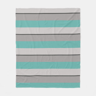 Multi-Striped Seaglass and Taupe Fleece Blanket