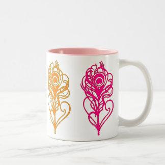 Multi-Warm Tone Peacock Feathers Coffee Mug