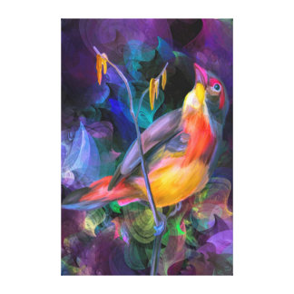 Multi water color yellow and orange swallow bird canvas print