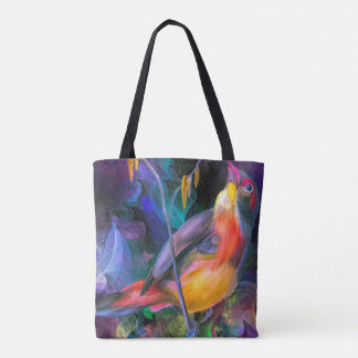 Multi water color yellow and orange swallow bird tote bag