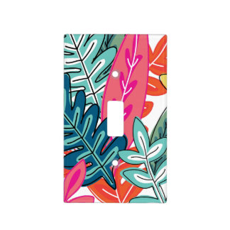 Multicolor Abstract Floral #2 Monogrammed Light Switch Cover