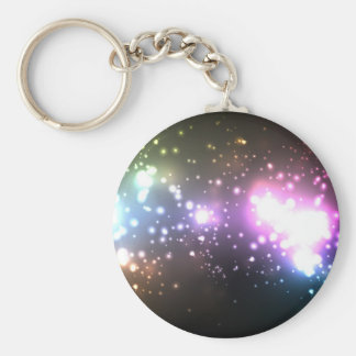 Multicolor Abstract Particles Basic Round Button Keychain