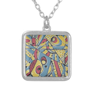 Multicolor Abstract Silver Plated Necklace