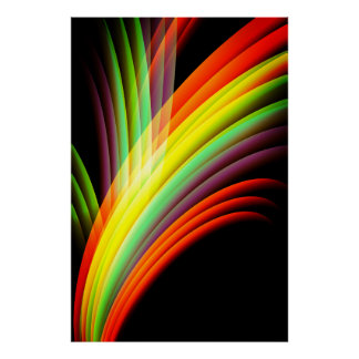 Multicolor abstract waves art poster