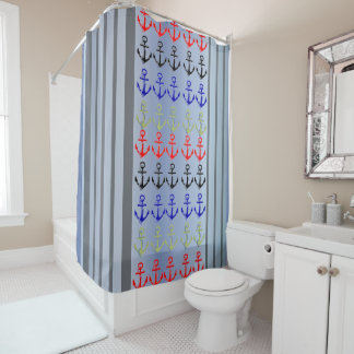 Multicolor Anchors  Sailors Marines Shower Curtain