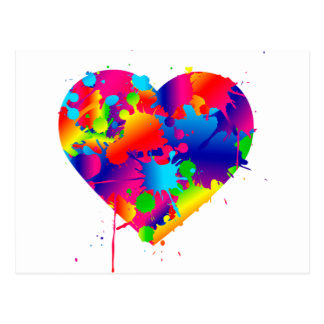 Multicolor Art Heart Postcard
